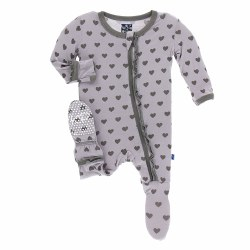 Kickee Pants - Bamboo Print Footie with Zipper - Feather Hearts 4T