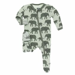 Kickee Pants - Bamboo Print Footie with Zipper - Aloe Elephant 2T