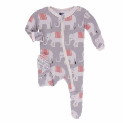 Kickee Pants - Bamboo Print Footie With Zipper - Feather Indian Elephant 0-3