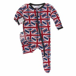 Kickee Pants - Bamboo Print Footie With Zipper - Union Jack 3T