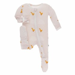 Kickee Pants - Bamboo Print Footie With Zipper - Macaroon Puddle Duck 0-3M