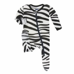 Kickee Pants - Bamboo Print Footie with Zipper - Natural Zebra 3T
