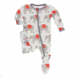 Kickee Pants - Bamboo Print Footie With Zipper - Natural Indian Elephant 0-3