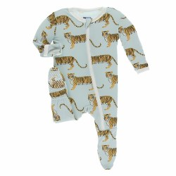 Kickee Pants - Bamboo Print Footie With Zipper - Spring Sky Tiger 18-24