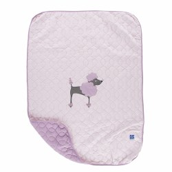 Kickee Pants - Bamboo Quilted Stroller Blanket with Applique - Macaroon Poodle
