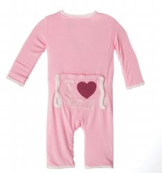 Kickee Pants - Applique Coverall I Love Mom - Lotus 0-3
