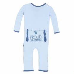 Kickee Pants - Applique Coverall Proud Brother - Blue 6-12