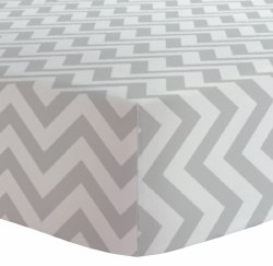 Kushies - Bassinet Fitted Sheet Flannel - Chevron Grey
