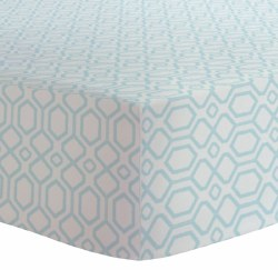 Kushies - Bassinet Fitted Sheet Flannel - Octagon Blue
