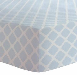Kushies - Bassinet Fitted Sheet Flannel - Lattice Blue