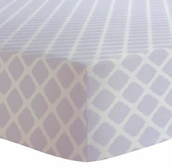 Kushies - Bassinet Fitted Sheet Flannel - Lattice Lilac
