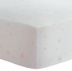 Kushies - Bassinet Fitted Sheet Flannel - Scribble Stars Pink