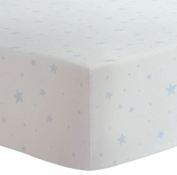 Kushies - Bassinet Fitted Sheet Flannel - Scribble Stars Blue