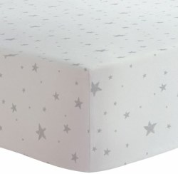 Kushies - Bassinet Fitted Sheet Flannel - Scribble Stars Grey