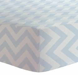 Kushies - Portable Playpen Fitted Sheet Flannel - Chevron Blue
