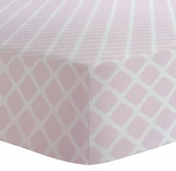 Kushies - Portable Playpen Fitted Sheet Flannel - Lattice Pink