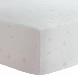 Kushies - Portable Playpen Fitted Sheet Flannel - Scribble Stars Pink