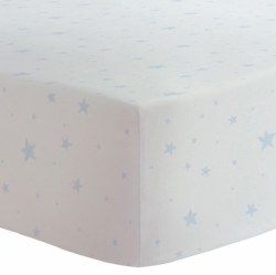 Kushies - Portable Playpen Fitted Sheet Flannel - Scribble Stars Blue