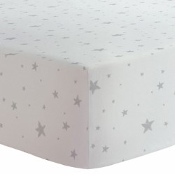 Kushies - Portable Playpen Fitted Sheet Flannel - Scribble Stars Grey