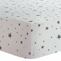 Kushies - Portable Playpen Fitted Sheet Flannel - Scribble Stars Black