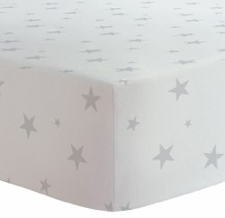 Kushies - Crib Fitted Sheet Organic Jersey - Grey Stars