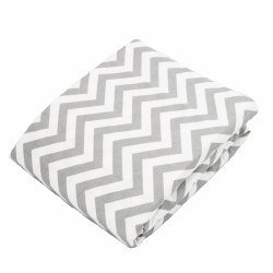 Kushies - Portable Playpen Fitted Sheet Flannel - Chevron Grey