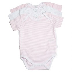 Kissy Kissy - 3 Pack Short Sleeve Stripe Body Pink 0-3