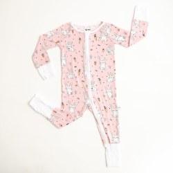 Little Sleepies - Bamboo Zipper Footie - Bunnies Pink 0-3M