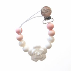 LouLou Lollipop - Pacifier Holder - Flower Baby Powder Pink