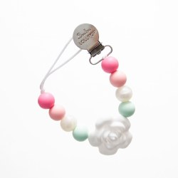 LouLou Lollipop - Pacifier Holder - Flower Pink Mint