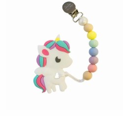 LouLou Lollipop - Teether Rainbow Unicorn - Cotton Candy