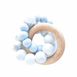 LouLou Lollipop - Teether Trinity Wood and Silicone - Baby Blue