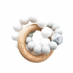 LouLou Lollipop - Teether Trinity Wood and Silicone - Cool Grey