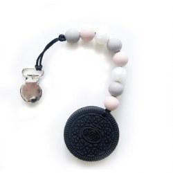 LouLou Lollipop - Teether Cookie - Grey & Pink