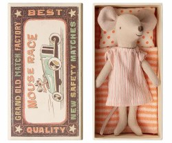 Maileg - Big Sister Mouse In Box - Stripes Dress