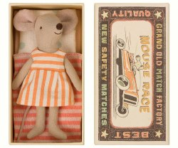 Maileg - Big Sister Mouse Box Striped Dress