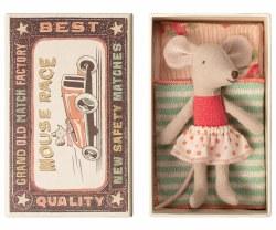 Maileg - Little Sister Mouse In Box - Dots Skirt