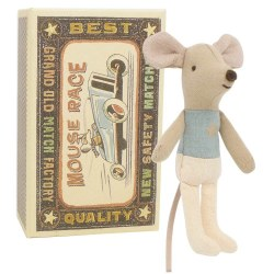 Maileg - Little Brother Mouse Box Star - Blue Star