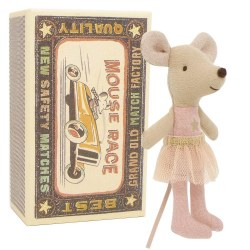 Maileg - Little Sister Mouse In Box - Pink Ballerina