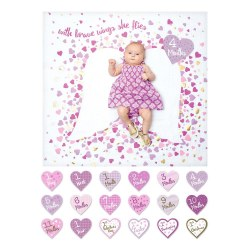 Lulujo Baby - Baby's First Years Blanket & Milestone Cards Set - With Brave Wings She Flies