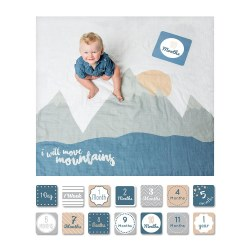 Lulujo Baby - Baby's First Years Blanket & Milestone Cards Set - I Will Move Mountain