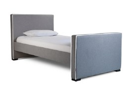 Monte Design - 1 Dorma Twin Bed - Heather Grey Body - White Piping - High Headboard + High Footboard