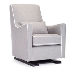 Monte Design - 1 Luca Glider/Pebble Grey Body/White Piping/Pebble Grey Lumbar Pillow