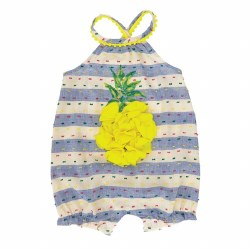 N L - Bubble Romper Striped Ruffles - Pineapple 9-12
