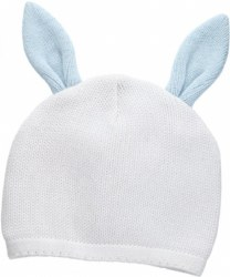 N L - Knit Hat - Bunny White/Blue