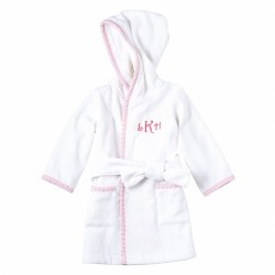 N L - Hooded Robe Pink Seersucker