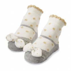 N L - Single Socks - Gold Dot Bow