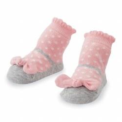 N L - Single Socks - Pink Polka Dot Bow