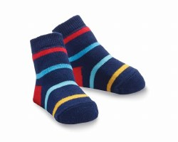 N L - Single Socks - Navy Striped