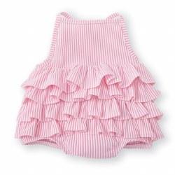 N L - Seersucker Ruffles Swimsuit - Pink 9-12